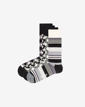 Happy Socks Black And White Чорапи 4 чифта
